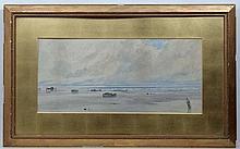 Charles S. Mottram XIX-XX Cornish?,  Watercolour,  Coastal scene with figures gathering seaw