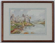 Sidney Watts (XIX-XX),  Watercolour with highlights,  'Pembroke Castle' ,  Signed lower
