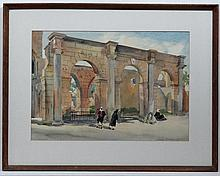 Howard Bowen XX Cypriot School,  Pencil and watercolour,  Figures by ruins ' Cyprus ',