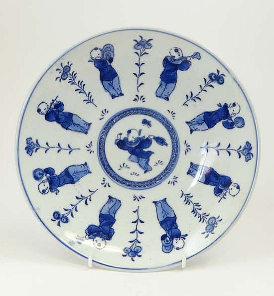 A mid 19thC Chinese hand painted blue and white
