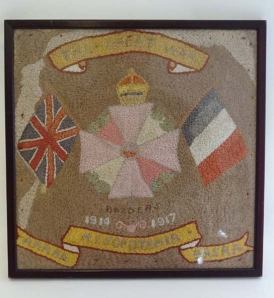 A WW1 woolwork sampler for the Border Regiment,