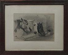 Horses: Follower of J.R.Herring Charcoal 3 horses