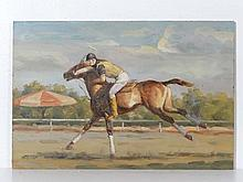 Polo: Harrison XX Oil on board Full tilt on a Polo