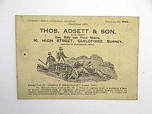 Shooting: An early 20thC business card from Thos.