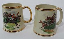 A pair of horse racing tankards by Gibsons