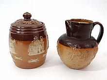 A Doulton stoneware hunting jug and lidded pot
