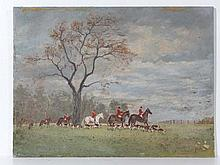 Hunting : JP Ansley XX Oil on board The Hunt in a