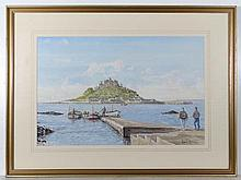 Robin Davidson XX Watercolour St. Michaels Mount ,
