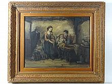 English School XIX Oil on canvas An interior with