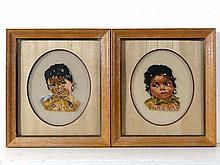 Circa 1962 Colonial A pair of oval cross stitch