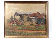 Late XIX English School Oil on canvas A farmyard