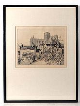 Margaret M Rudge (XIX-XX) Etching ' York Minster '