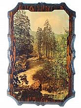 Mid-late XX Canadian Image on lacquered redwood