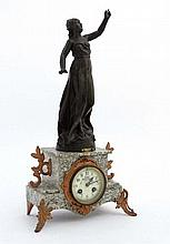 French marble clock : a green flecked marble cased
