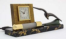 Art Deco bedside light and clock : a French marble