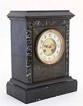 Marble Mantle Clock  : a Slate cased and marble ca