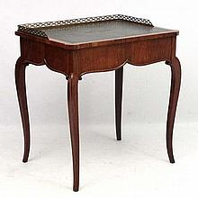 A 19thC ladies satinwood desk with side opening dr
