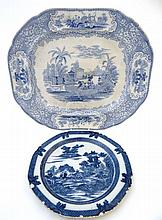 A mid 19thC blue and white transfer printed ashet