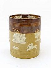 A Doulton Lambeth 2-tone stoneware tobacco jar and
