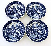 A set of 4 early 19thC blue and white transfer