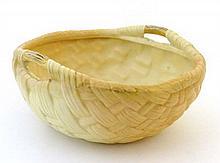 A Royal Worcester unusual blush weave basket bowl,