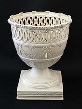 A Leedsware Classical Creamware pierced pedestal u