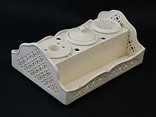 A Leedsware Classical Creamware pierced inkwell se