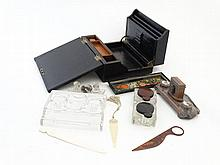 A quantity of c.1900 desk items to include a glass