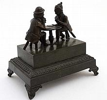 A French 19thC patinated bronze inkstand / standis