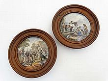 Two Prattware pot lids the 'Village Wedding' and T