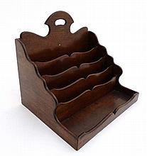 A 19thC mahogany desk tidy / letter rack comprisin