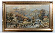 K Morris 1874 Watercolour Figures in a mountainous