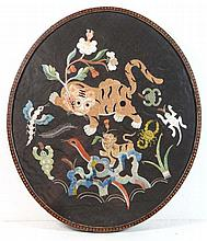 19th Century Chinese oval silkwork / needlework: a