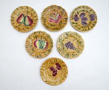 A set of 6 French majolica plates, each moulded