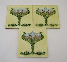 Art Nouveau: 3 Majolica tiles by Henry Richards,
