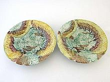 A pair of C.1900 polychrome majolica plates, each