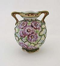 A 19th Century pottery 2-handled vase painted with