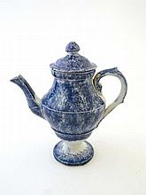 A 19th Century blue sponge ware teapot and cover,
