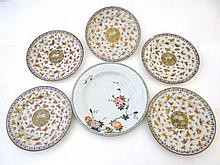 A collection of Chinese ceramic plates, profusely