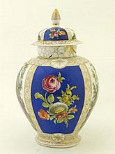A baluster shaped jar with dome shaped cover,