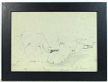 T Laschuk 1953 Soviet Russian Pencil sketch Pigs