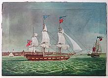 18thC Marine School Oil on canvas An XVIII Barque