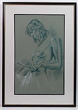 F Mataing Early XX Pastel on paper 'Nude with
