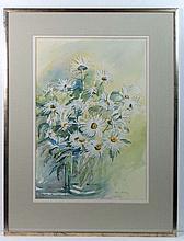 Ann Manly XX Watercolour 'Daises ' Ox eye daises