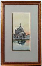 F Del Campo XIX Venetian Italian Watercolour Canal