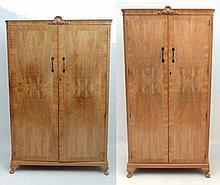 2 ( ladies and Gentleman's ) 1950's blonde walnut 2 door wa