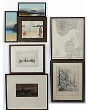 Collection of assorted prints and watercolours to include 2