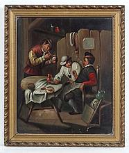 Early 19thC Dutch School, Oil on tin, Figures smoking clay