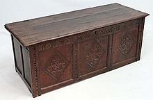 17thC oak coffer : A' 1648' 3 panel oak peg jointed coffer
