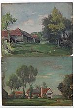 W Rowe 1915, A pair of oil on panels, A farmstead and a hou